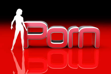 A Womans Silhouette with the word Porn. 3D rendered Illustration. Stock Illustration - 9148209