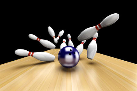 challenge: Playing bowling and hitting them all. 3D rendered Illustration.  Stock Photo
