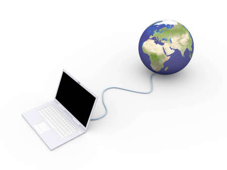 trackpad: 3D rendered Illustration. A ethernet connected globe. Isolated on white.