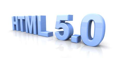 html: HTML 5.0. 3D rendered Illustration. Isolated on white.