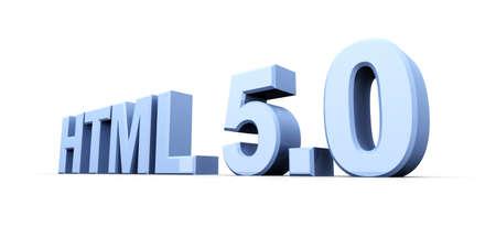 HTML 5.0. 3D rendered Illustration. Isolated on white. Stock Illustration - 9193799