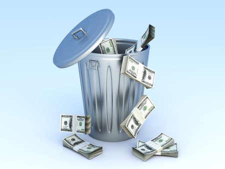 eliminate waste: Moneytrash can. 3D rendered illustration.