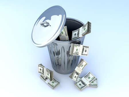 morgage: Moneytrash can. 3D rendered illustration.