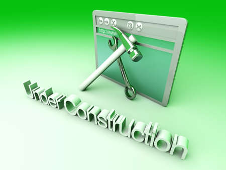 wehosting: 3D Illustration. Website is under construction. Stock Photo