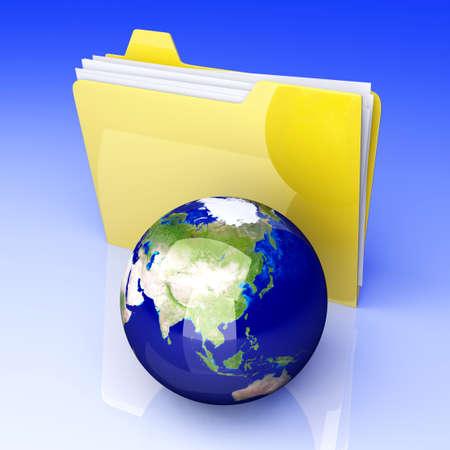 shared: 3D rendered Illustration. Global network folder - shared directory.