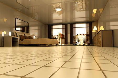 living hall: A Bedroom with view on Sao Paulo, Brazil. 3D rendered Illustration.