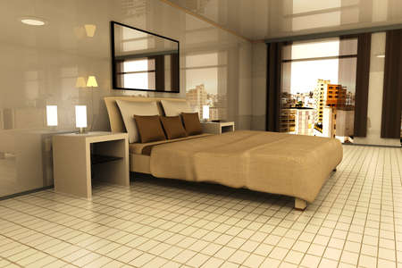 A Bedroom with view on Sao Paulo, Brazil. 3D rendered Illustration.  illustration