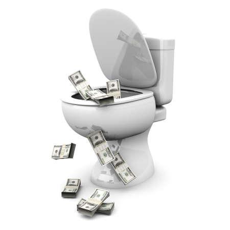 flush away: Money found in the Toilet! 3D rendered illustration. Isolated on white.