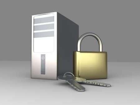 A secure Desktop PC. 3D rendered Illustration. Stock Illustration - 9279737