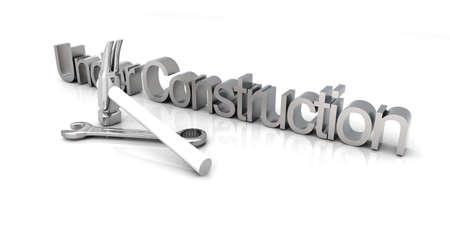3D Illustration. Website is under construction. Isolated on white. Stock Illustration - 9279731