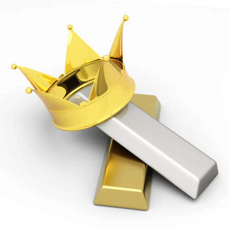 gold ingot: A crown with gold and silver. 3D rendered illustration..