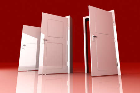 possibilities: All Doors are opened for you... 3D rendered Illustration.  Stock Photo