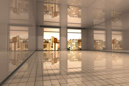 Interior visualisation of a empty Apartment in Sao Paulo. 3D rendered illustration. Stock Illustration - 9354113
