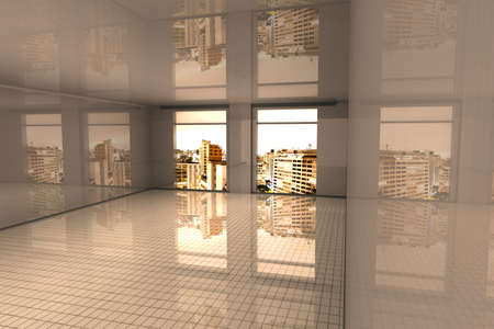 living room design: Interior visualisation of a empty Apartment in Sao Paulo. 3D rendered illustration.