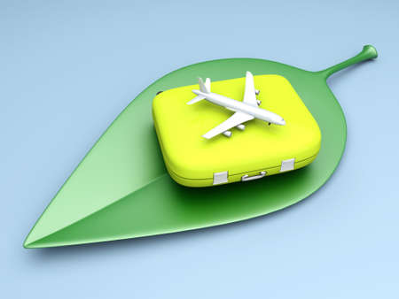 Sustainable, ecological air travelling. 3D rendered Illustration.  illustration