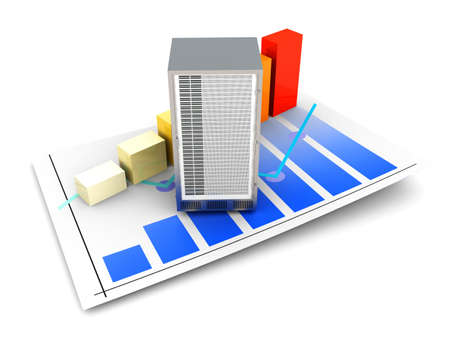 downtime: Server and bandwidth statistics. 3D rendered Illustration. Isolated on white.
