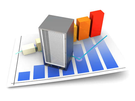 webspace: Server and bandwidth statistics. 3D rendered Illsutration. Isolated on white.