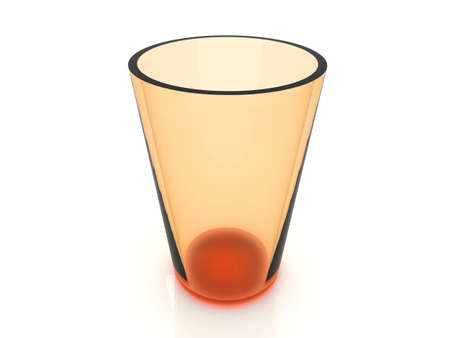 glas 3d: A orange Glas. 3d rendered Illustration. Isolated on white.