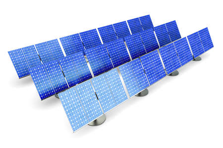 photovoltaic cell: 3D rendered Illustration. A line of solar panels, isolated on white. Stock Photo