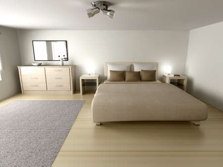 modern living room: Interior visualization of a Bedroom. 3D rendered Illustration.