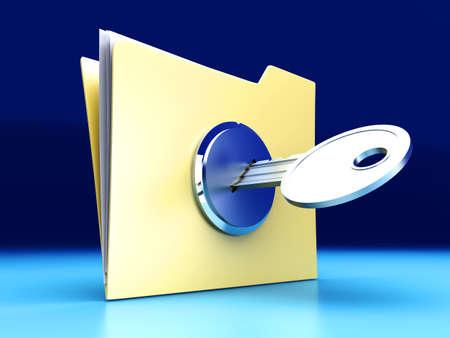 A secured  encrypted Folder. 3D rendered Illustration. illustration
