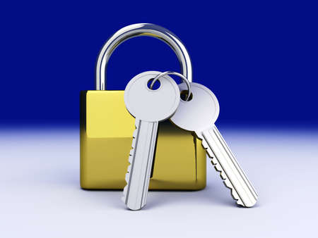 close out: A padlock with keys. 3D rendered Illustration.