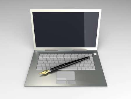 Digital Writer. 3D rendered Illustration. Unbalanced lightning setup. Stock Illustration - 9463204