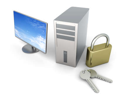 A secure Desktop PC. 3D rendered Illustration. Isolated on white. Stock Illustration - 9463208