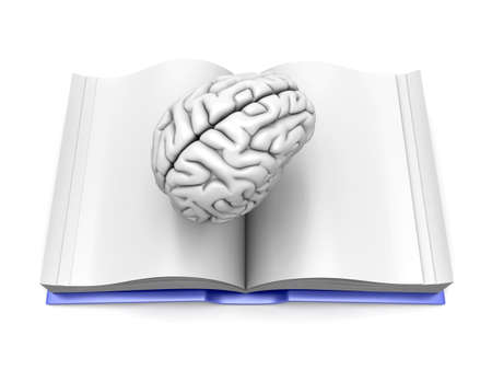 Psychologic  Psychiatric  Neurologic literature. 3d rendered Illustration. Isolated on white. Stock Photo