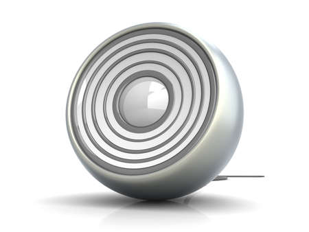 speakers: Un altoparlante moderno, metallico. 3D rendering illustrazione. Isolated on white. Archivio Fotografico