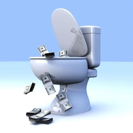 flush away: Money found in the Toilet! 3D rendered illustration.