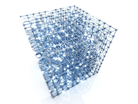 integrated: 3D rendered Illustration. A glowing grid.  Stock Photo