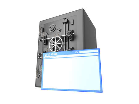 wepage: Secure browsing. 3D rendered Illustration. Isolated on white. Stock Photo