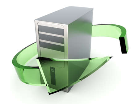 3D rendered Illustration. Recycling  renewing old computers. Isolated on white. illustration