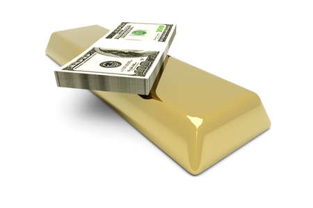 gold bar earn: Commodities and cash investments. 3D rendered Illustration. Isolated on white.
