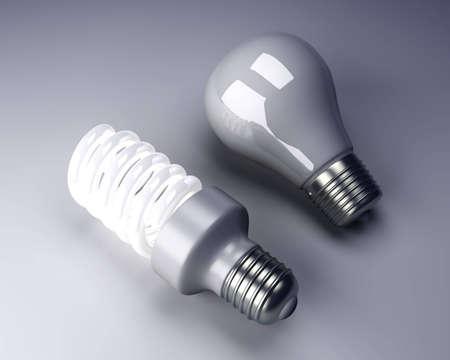bombillo ahorrador: Un cl�sico y una bombilla de ahorro de energ�a moderna. 3D representa la ilustraci�n.