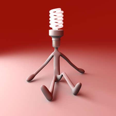 power saving lamp: 3D rendered Illustration.