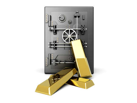 Gold investment. 3D rendered Illustration. Isolated on white. Stock Illustration - 9584730
