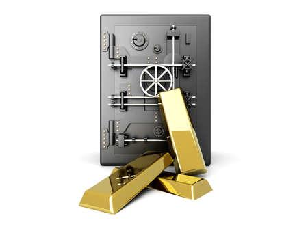 Gold investment. 3D rendered Illustration. Isolated on white. Stock Illustration - 9584730