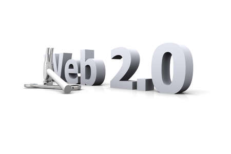 webhost: 3D Illustration. Website is under construction. Isolated on white.