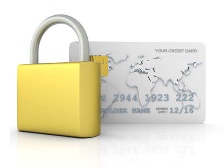secure payment: 3D rendered Illustration. Isolated on white.