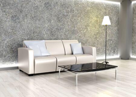 3D rendered Illustration. An living room. Dark concrete style. Stock Illustration - 9584779