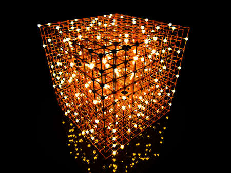 3D rendered Illustration. A glowing grid.  Stock Photo