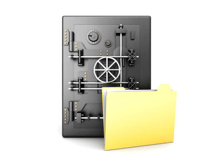A secure, locked, directory. 3D rendered illustration. Isolated on white. Stock Illustration - 9584751