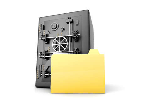 A secure, locked, directory. 3D rendered illustration. Isolated on white. Stock Illustration - 9584748