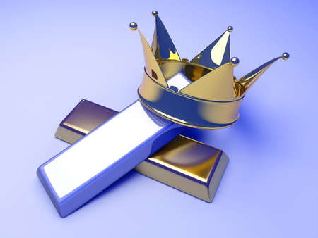 gold bar earn: A crown with gold and silver. 3D rendered illustration.