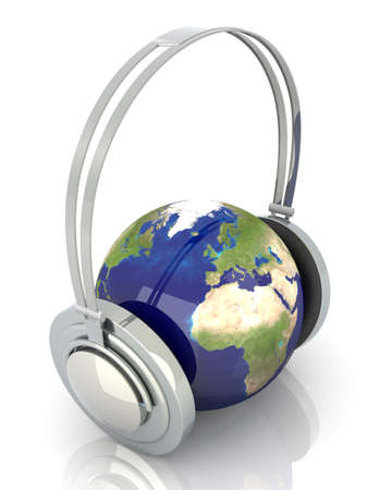 The music of Europe. Headphones and a world globe. 3D rendered Illustration.  illustration
