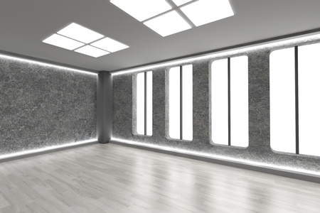 3D rendered Illustration. An empty room. Dark concrete style. Stock Illustration - 9670250