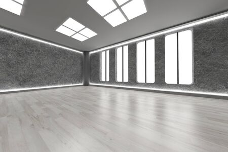 3D rendered Illustration. An empty room. Dark concrete style. Stock Illustration - 9670256