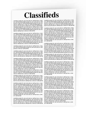 3D rendered Illustration. A sheet of classifieds. Isolated on white. illustration